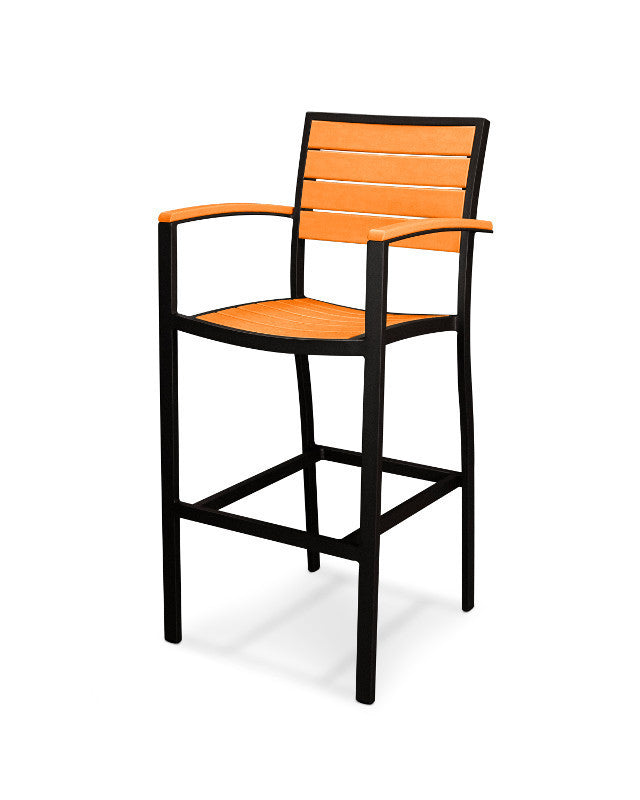 A202FABTA Euro Bar Arm Chair in Textured Black and Tangerine