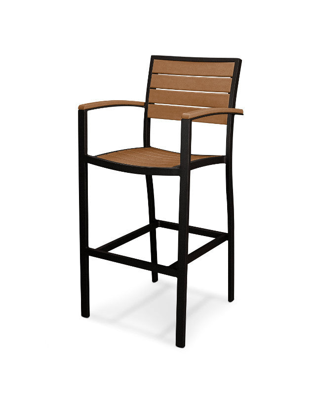 A202FABTE Euro Bar Arm Chair in Textured Black and Teak