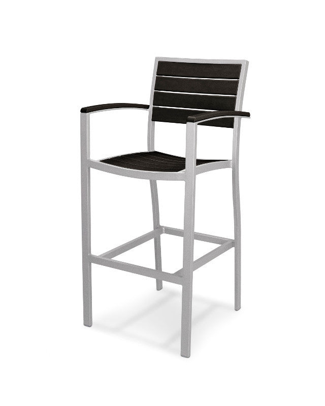 A202FASBL Euro Bar Arm Chair in Textured Silver and Black