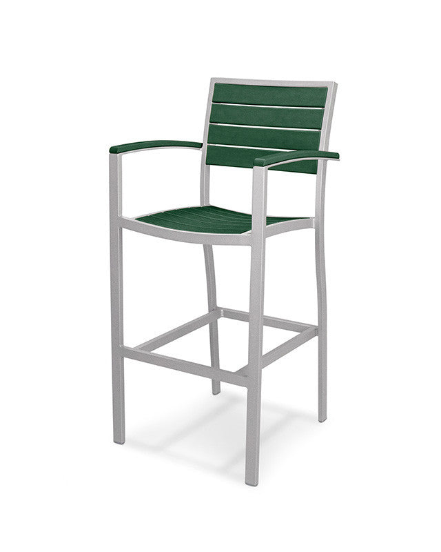 A202FASGR Euro Bar Arm Chair in Textured Silver and Green