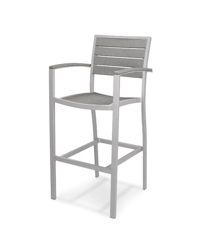 A202FASGY Euro Bar Arm Chair in Textured Silver and Slate Grey