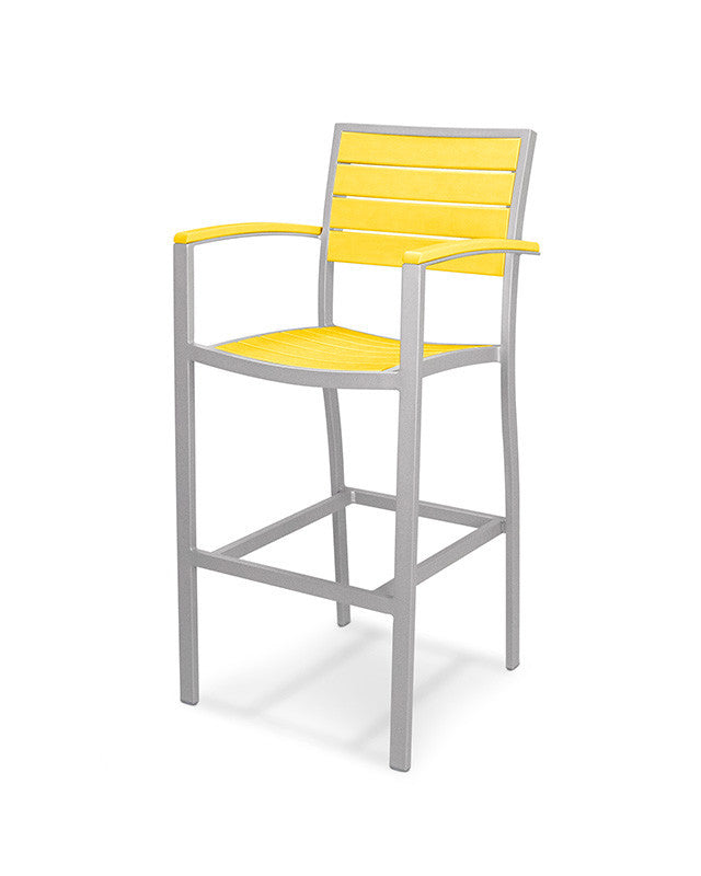 A202FASLE Euro Bar Arm Chair in Textured Silver and Lemon