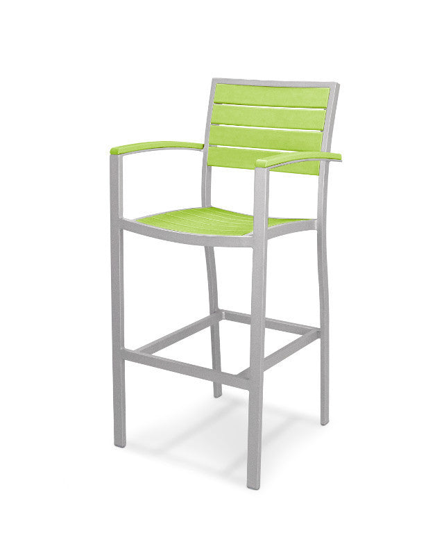 A202FASLI Euro Bar Arm Chair in Textured Silver and Lime