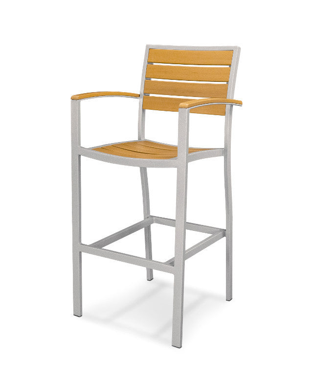 A202FASNT Euro Bar Arm Chair in Textured Silver and Plastique Natural Teak