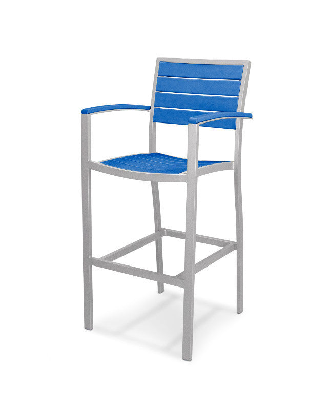 A202FASPB Euro Bar Arm Chair in Textured Silver and Pacific Blue