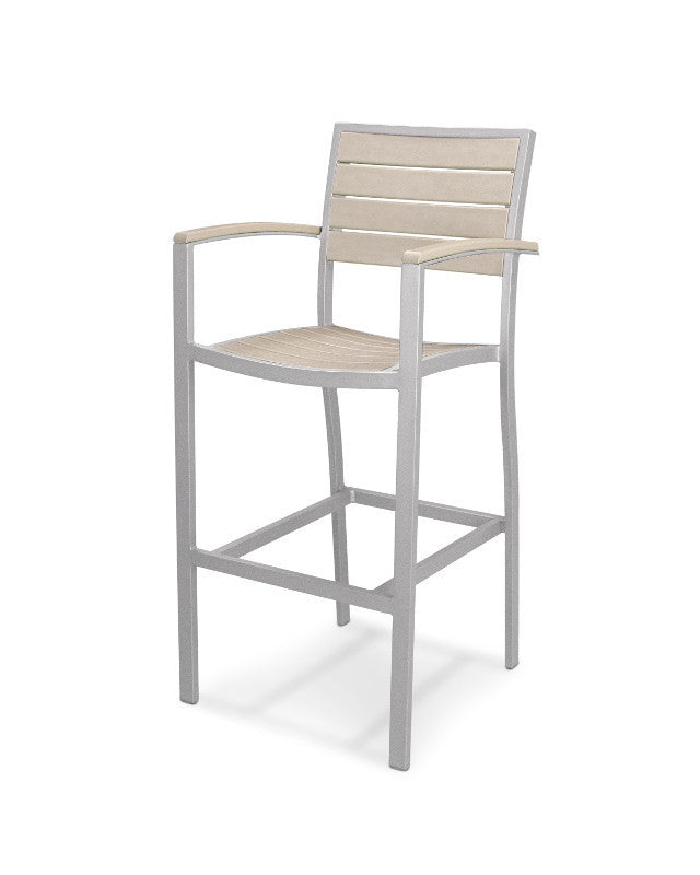 A202FASSA Euro Bar Arm Chair in Textured Silver and Sand