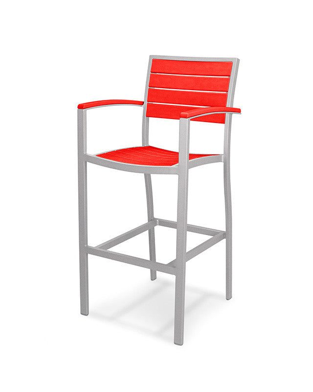 A202FASSR Euro Bar Arm Chair in Textured Silver and Sunset Red
