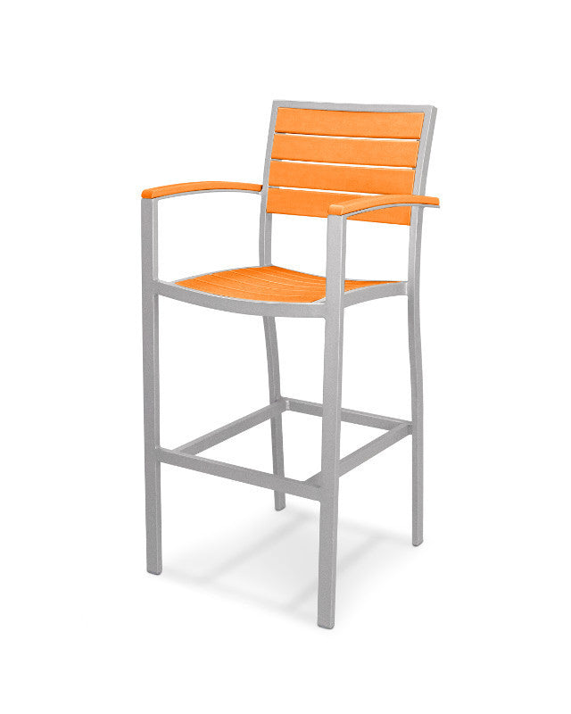 A202FASTA Euro Bar Arm Chair in Textured Silver and Tangerine