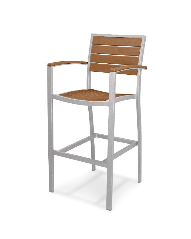 A202FASTE Euro Bar Arm Chair in Textured Silver and Teak