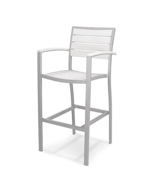 A202FASWH Euro Bar Arm Chair in Textured Silver and White