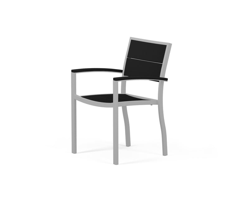 A220-11MBL Metro Dining Arm Chair in Textured Silver and Black