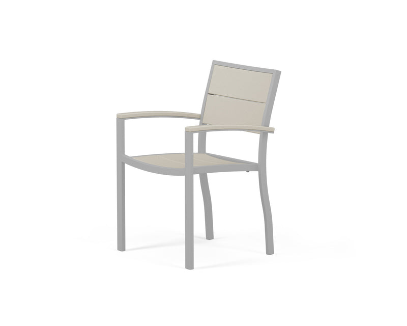A220-11MSA Metro Dining Arm Chair in Textured Silver and Sand