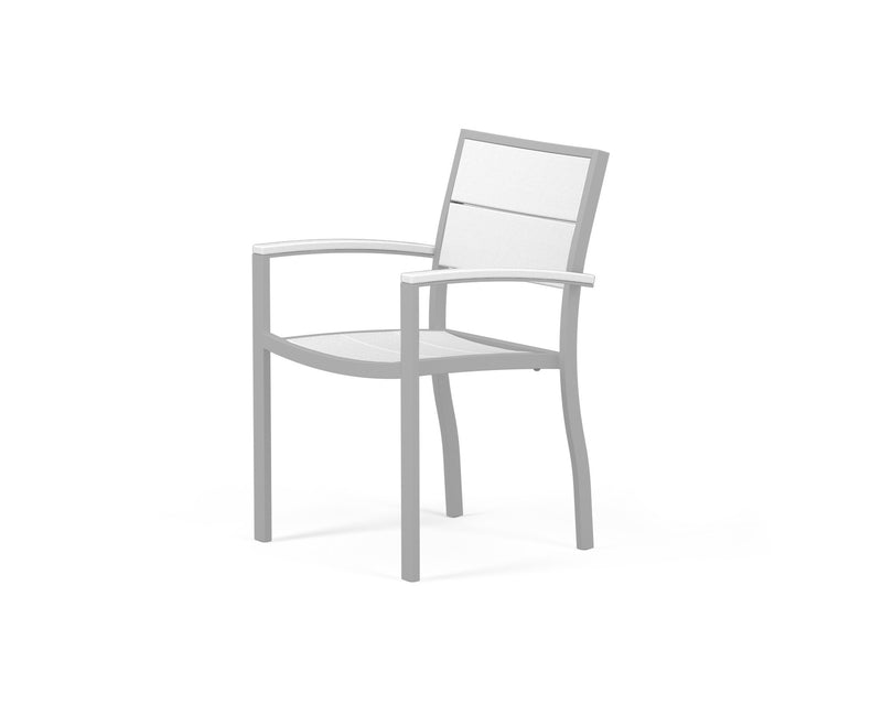 A220-11MWH Metro Dining Arm Chair in Textured Silver and White