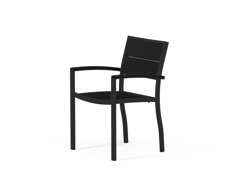 A220-12MBL Metro Dining Arm Chair in Textured Black and Black