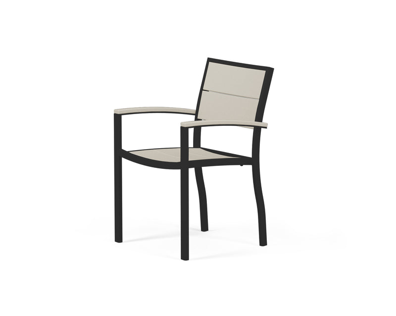 A220-12MSA Metro Dining Arm Chair in Textured Black and Sand