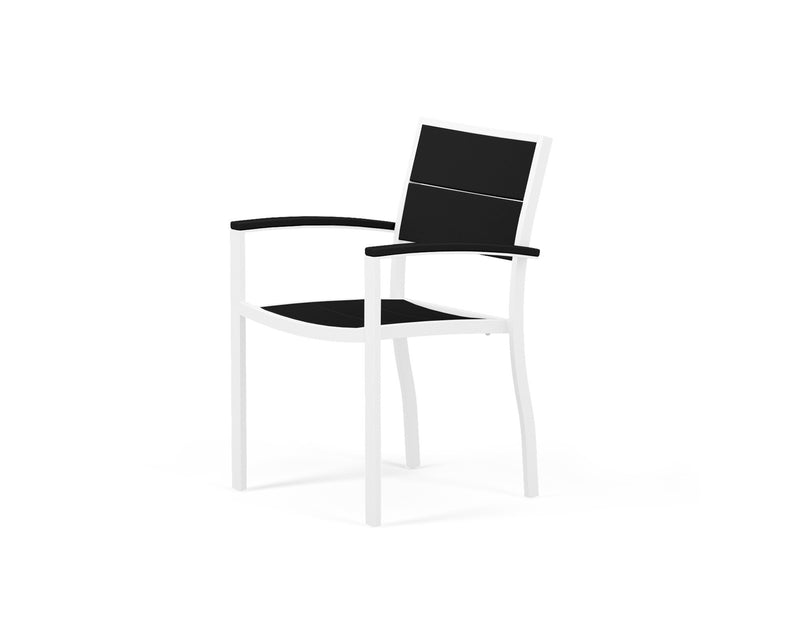 A220-13MBL Metro Dining Arm Chair in Satin White and Black