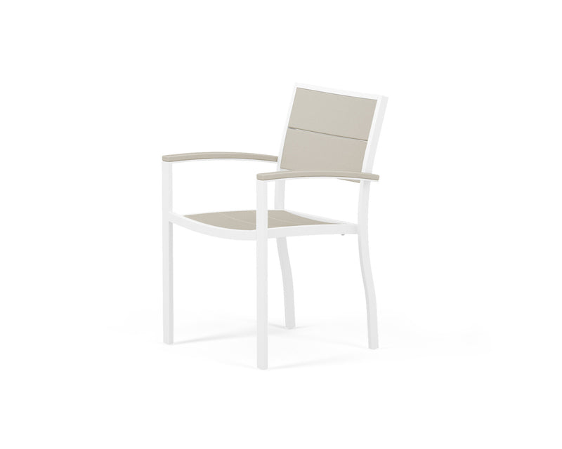 A220-13MSA Metro Dining Arm Chair in Satin White and Sand