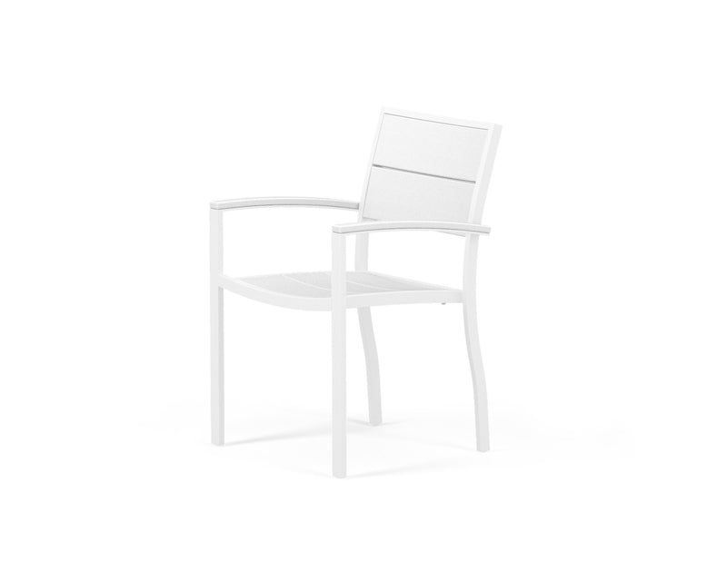 A220-13MWH Metro Dining Arm Chair in Satin White and White