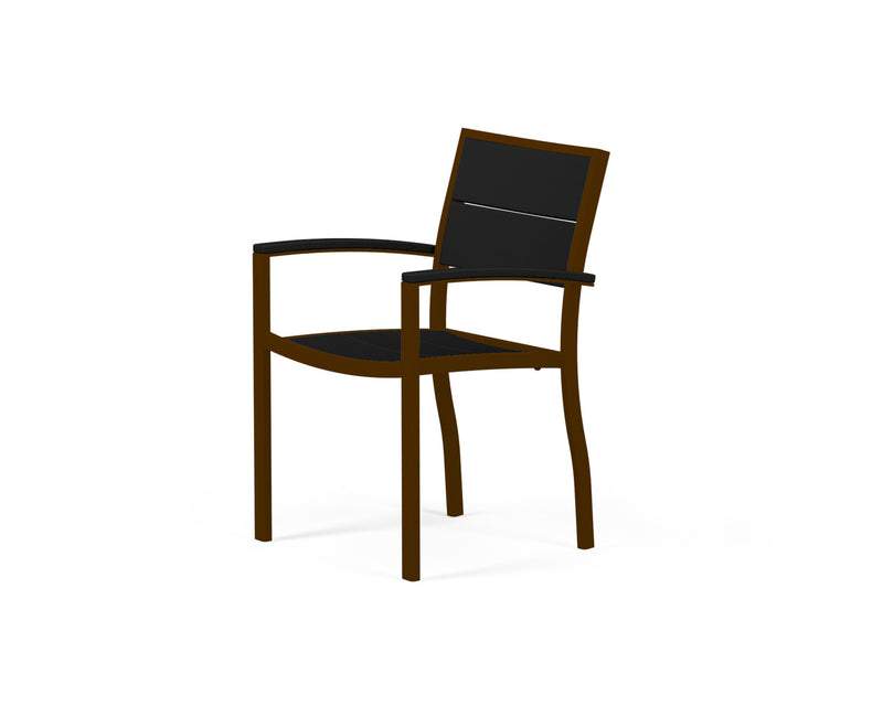 A220-16MBL Metro Dining Arm Chair in Textured Bronze and Black