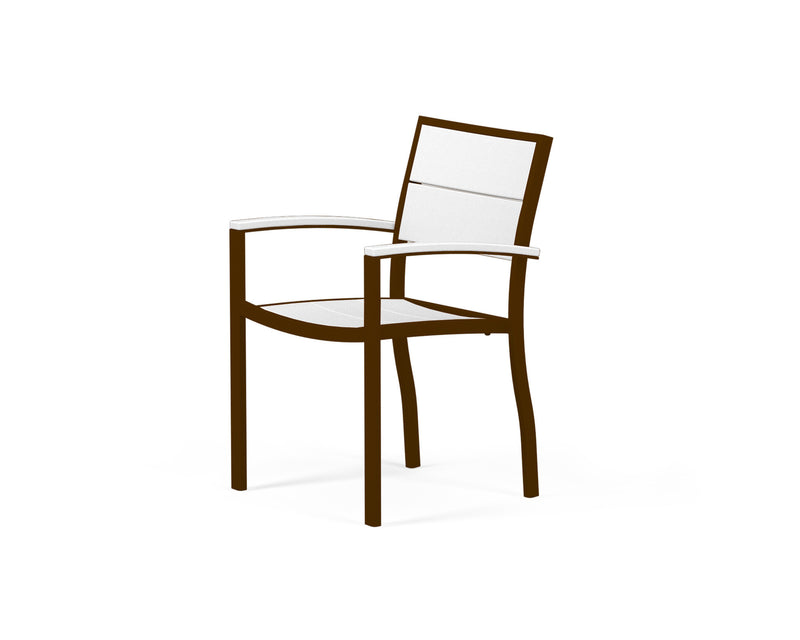 A220-16MWH Metro Dining Arm Chair in Textured Bronze and White