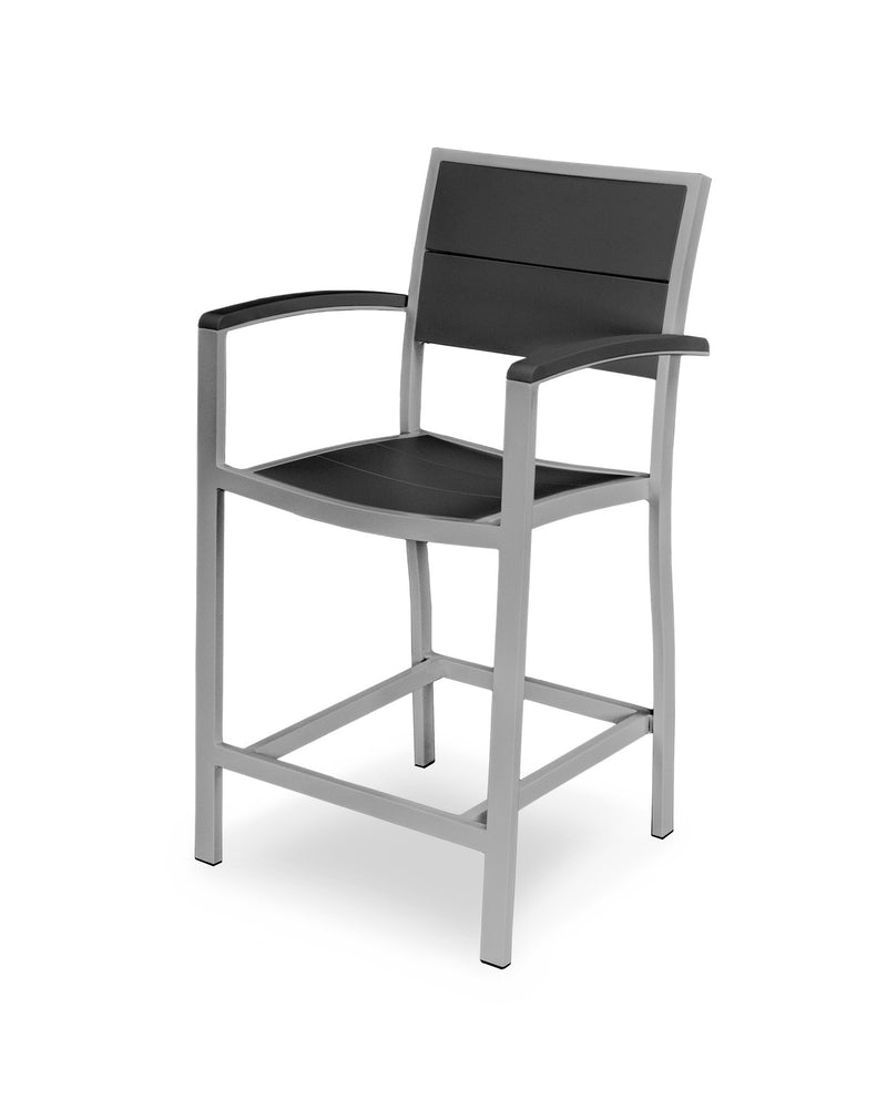 A221-11MBL Metro Counter Arm Chair in Textured Silver and Black
