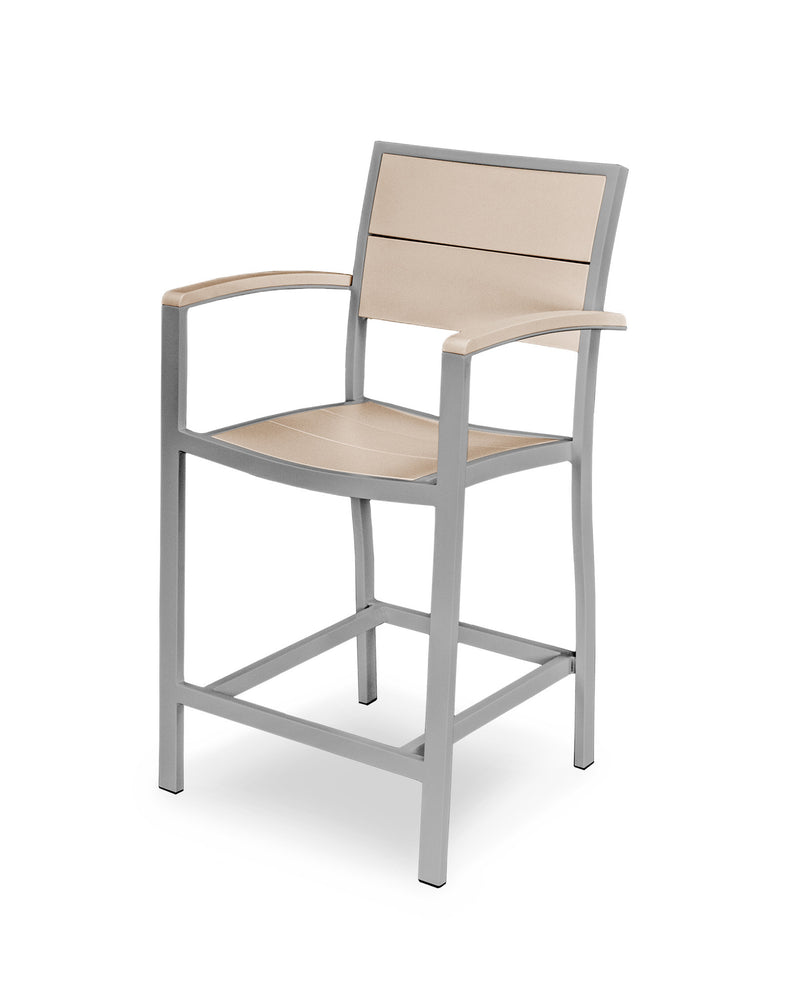 A221-11MSA Metro Counter Arm Chair in Textured Silver and Sand