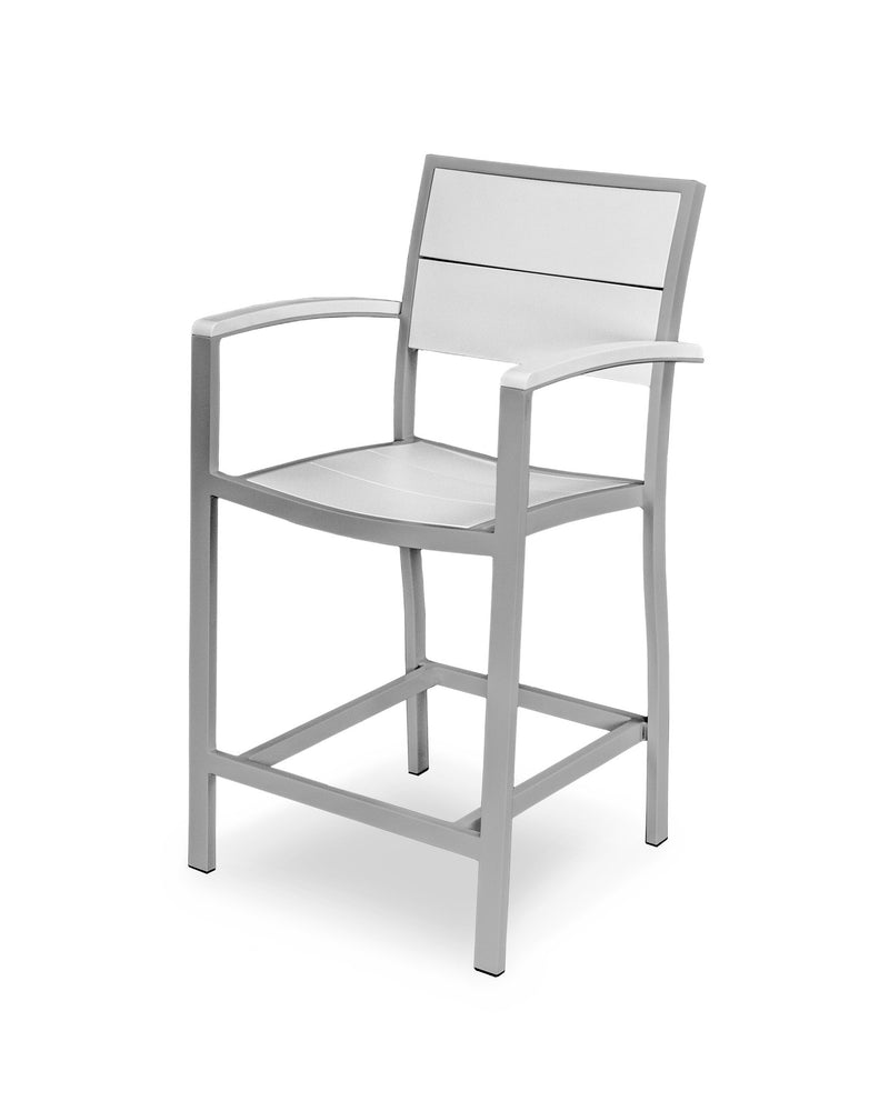 A221-11MWH Metro Counter Arm Chair in Textured Silver and White