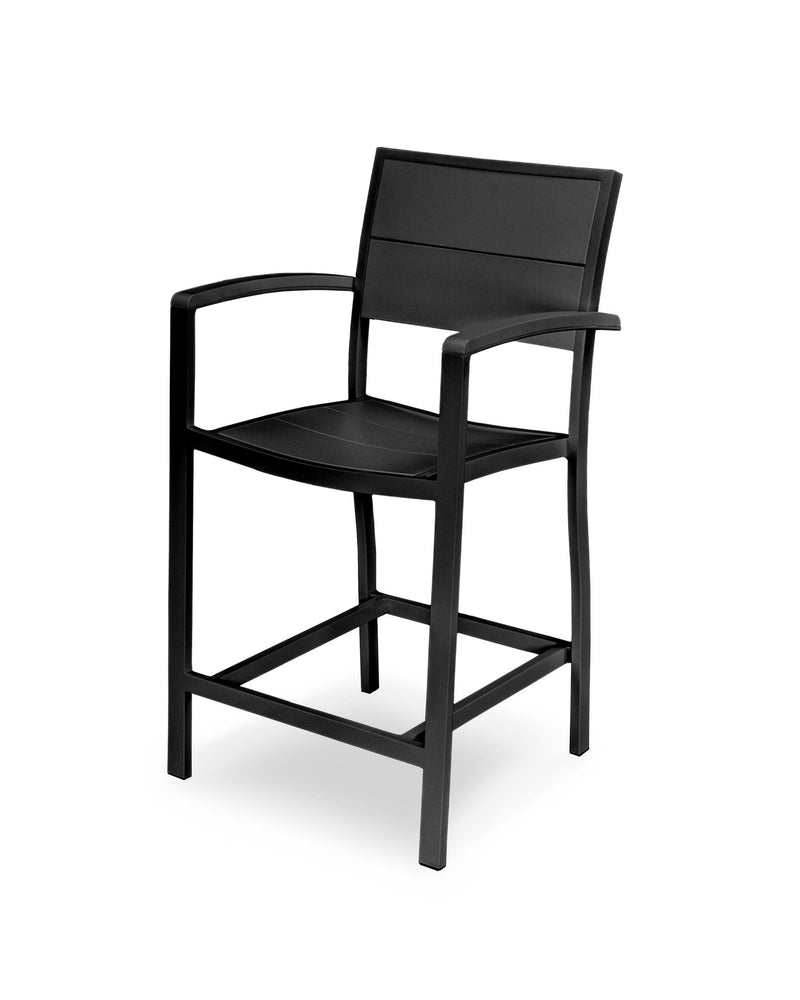 A221-12MBL Metro Counter Arm Chair in Textured Black and Black