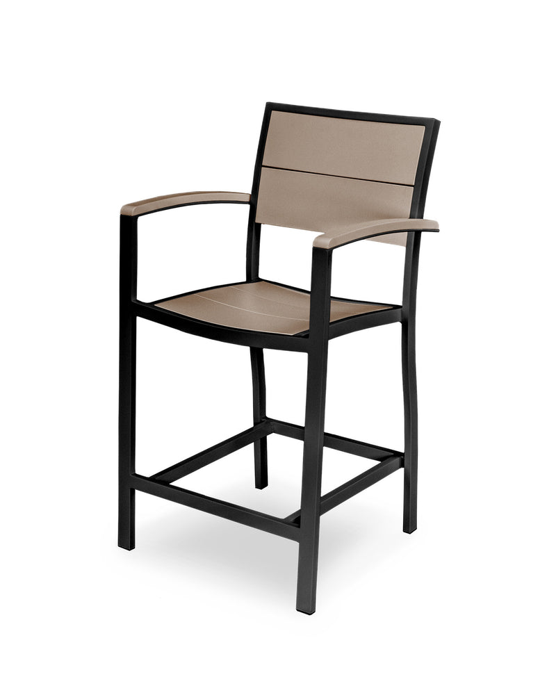 A221-12MSA Metro Counter Arm Chair in Textured Black and Sand