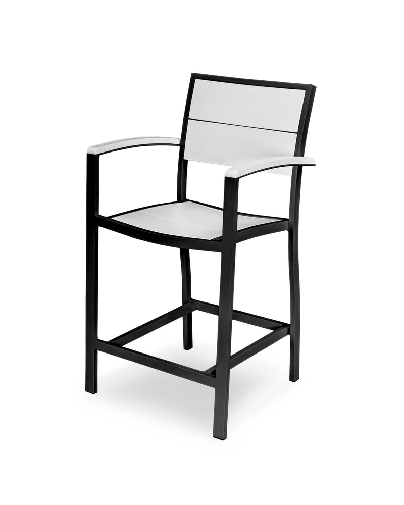 A221-12MWH Metro Counter Arm Chair in Textured Black and White