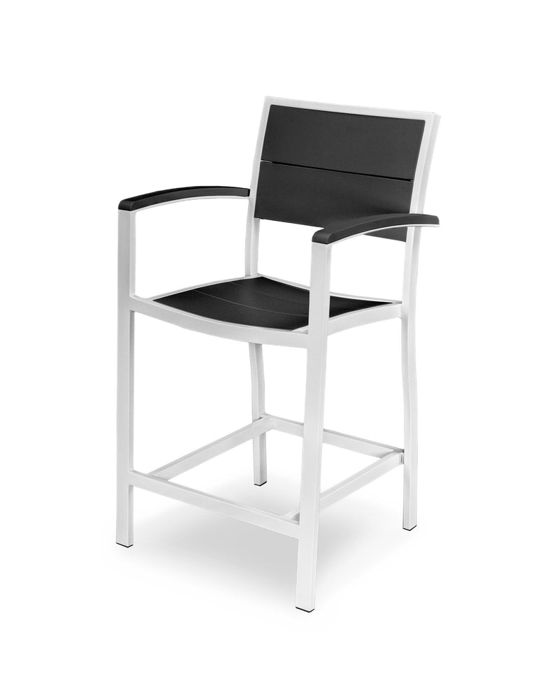 A221-13MBL Metro Counter Arm Chair in Satin White and Black
