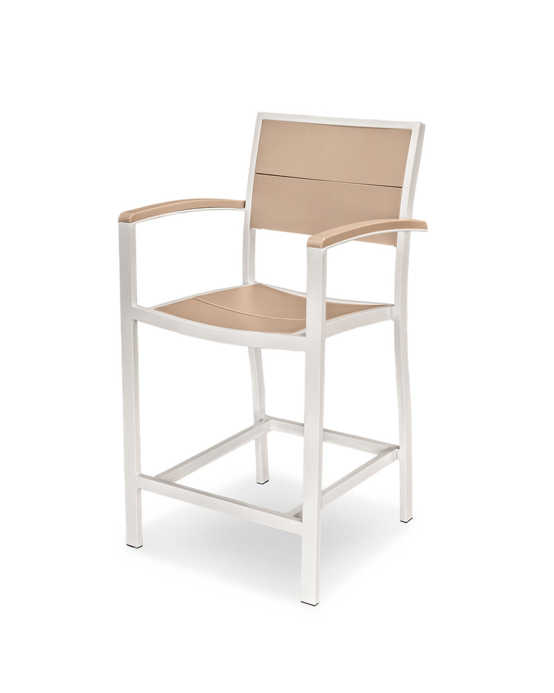 A221-13MSA Metro Counter Arm Chair in Satin White and Sand