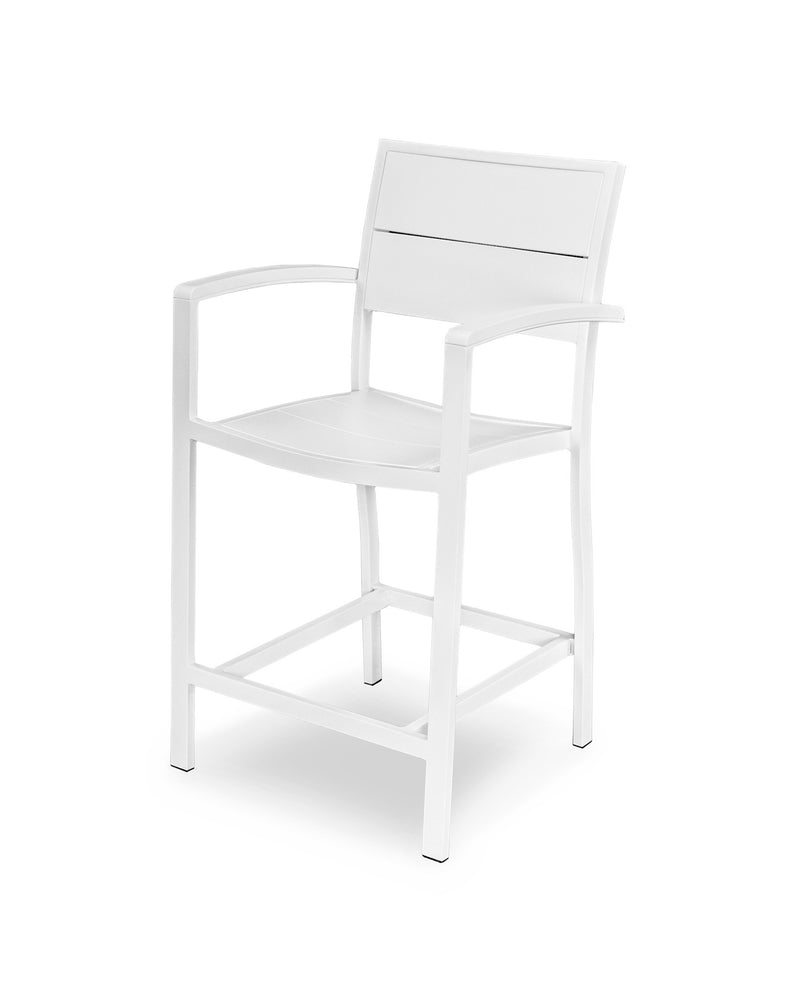 A221-13MWH Metro Counter Arm Chair in Satin White and White