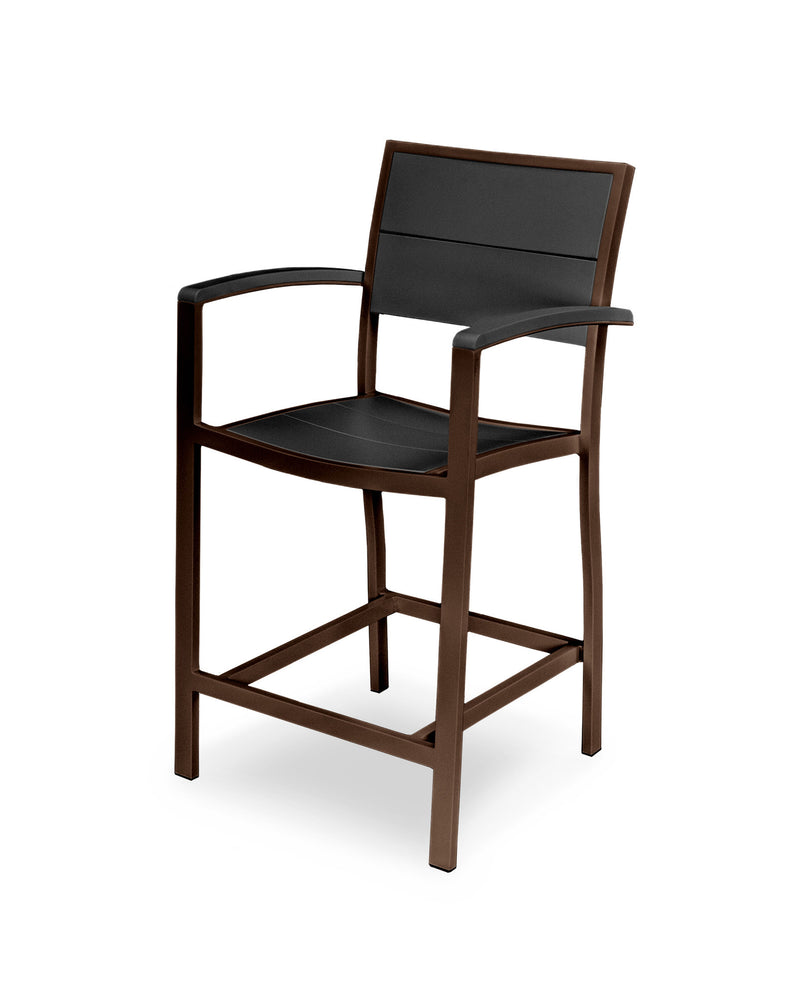 A221-16MBL Metro Counter Arm Chair in Textured Bronze and Black