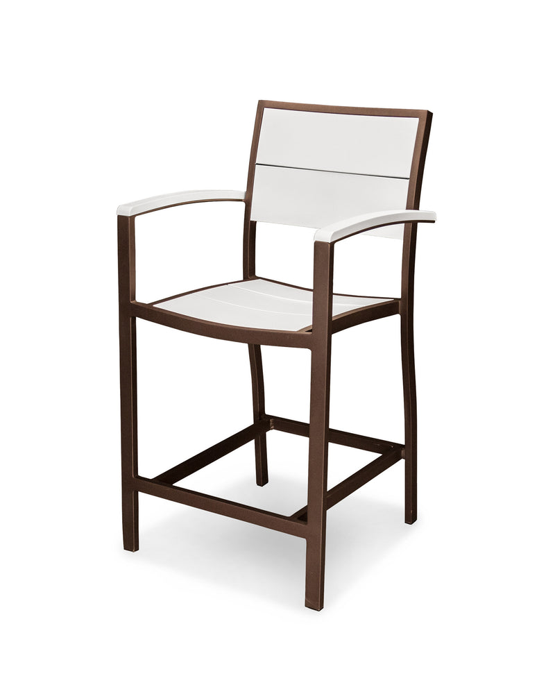 A221-16MWH Metro Counter Arm Chair in Textured Bronze and White