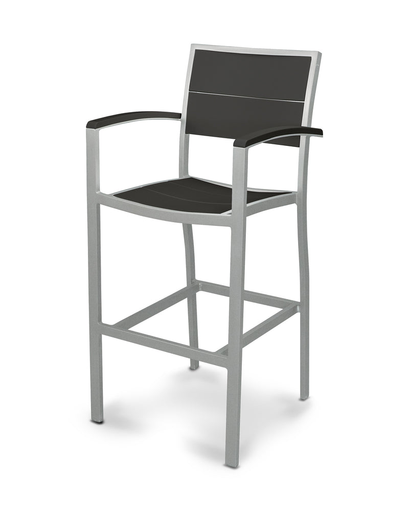 A222-11MBL Metro Bar Arm Chair in Textured Silver and Black