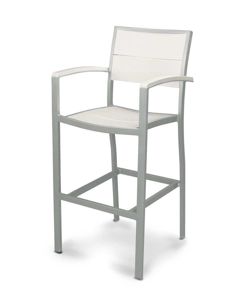 A222-11MWH Metro Bar Arm Chair in Textured Silver and White