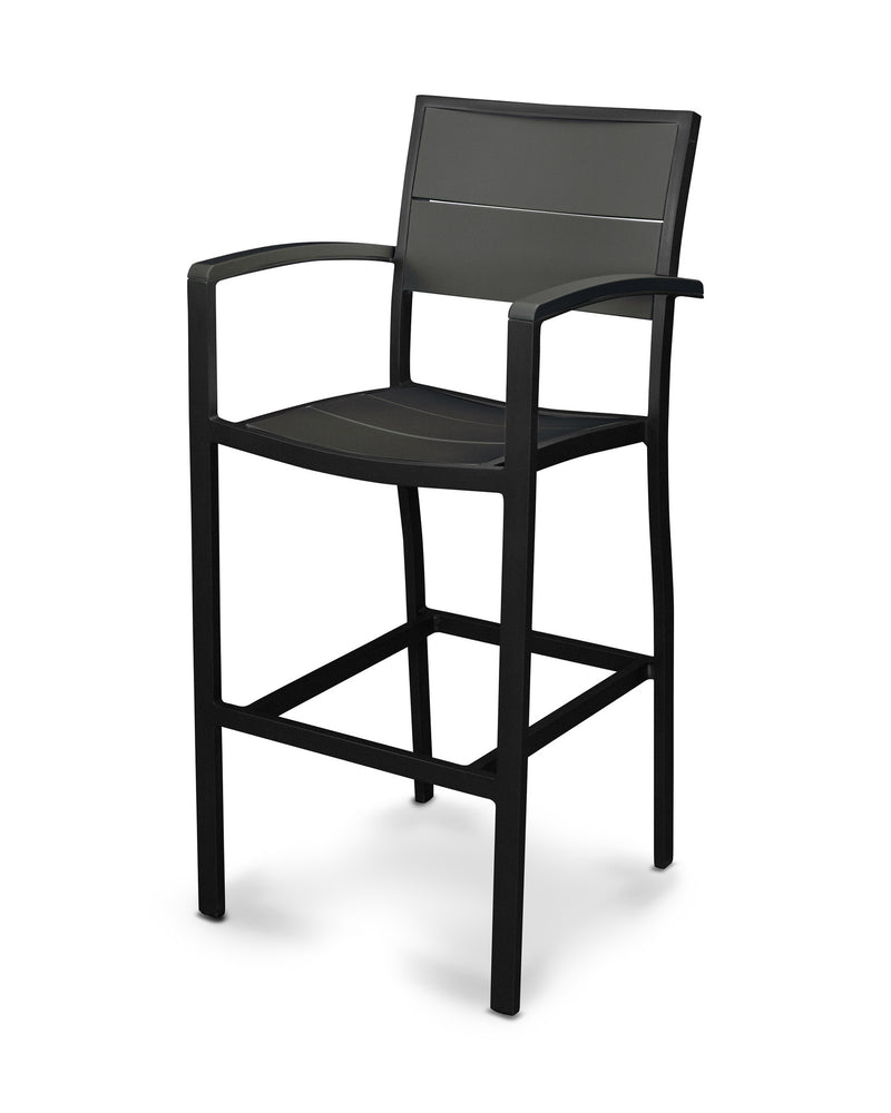A222-12MBL Metro Bar Arm Chair in Textured Black and Black