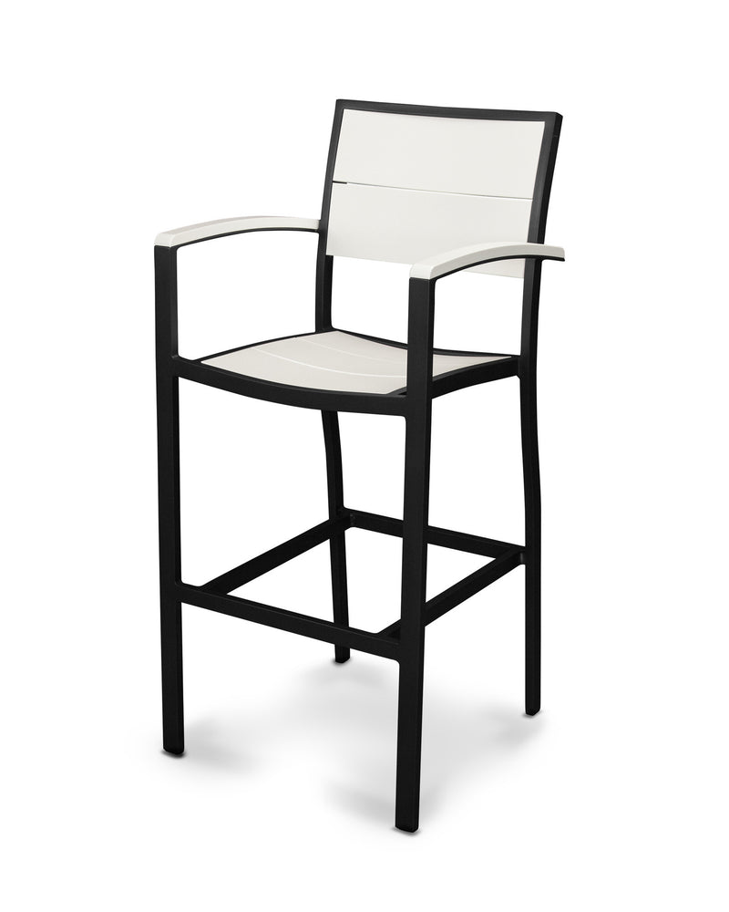 A222-12MWH Metro Bar Arm Chair in Textured Black and White