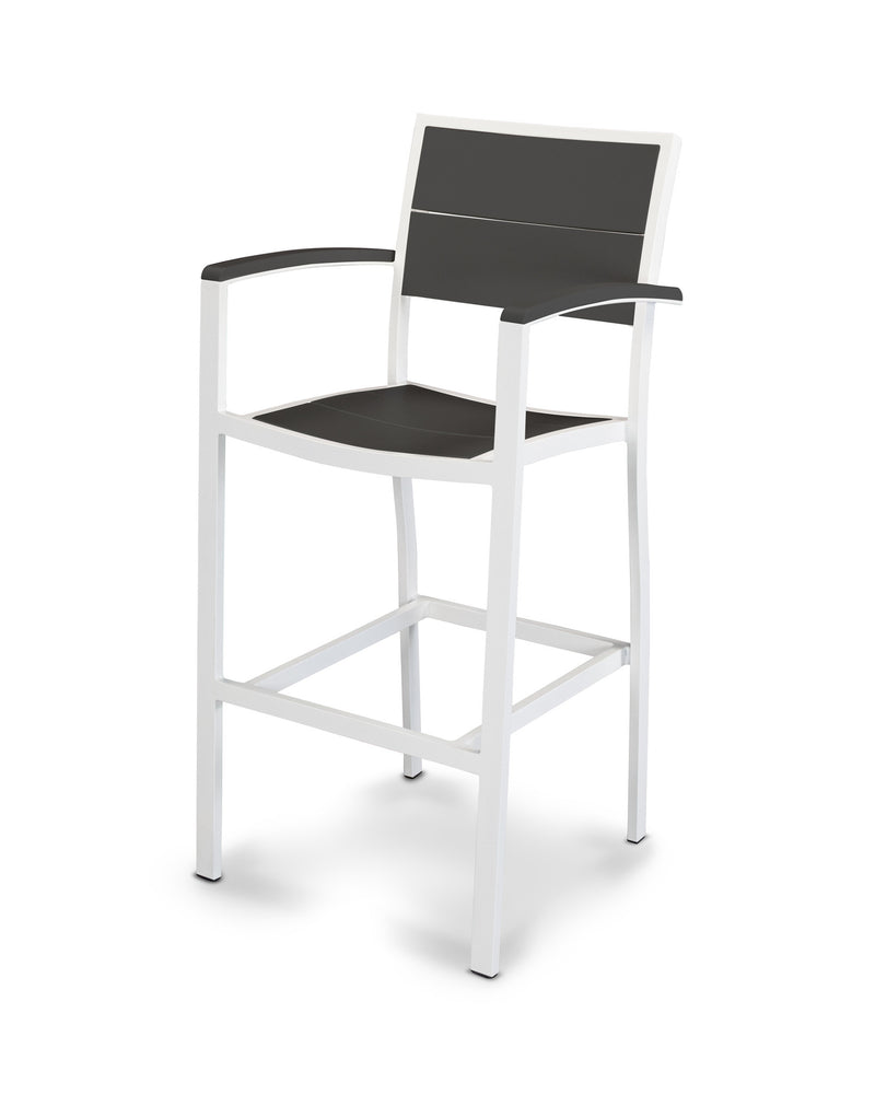 A222-13MBL Metro Bar Arm Chair in Satin White and Black