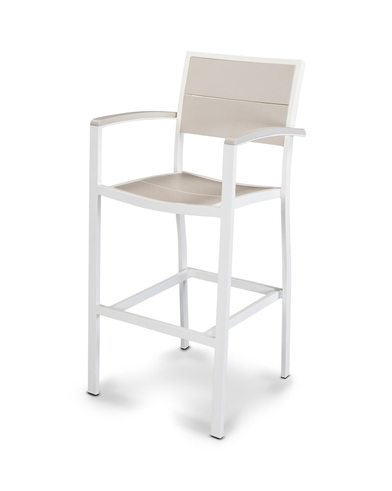 A222-13MSA Metro Bar Arm Chair in Satin White and Sand
