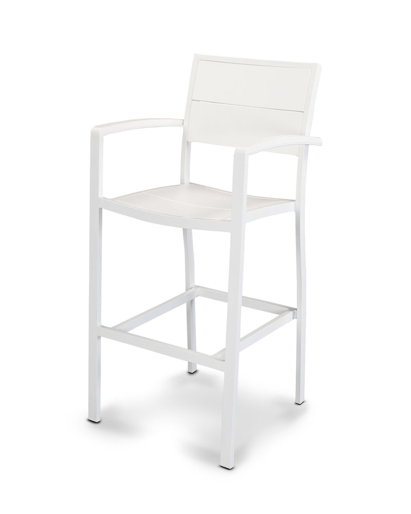 A222-13MWH Metro Bar Arm Chair in Satin White and White