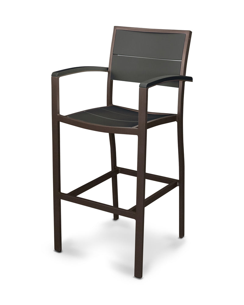 A222-16MBL Metro Bar Arm Chair in Textured Bronze and Black