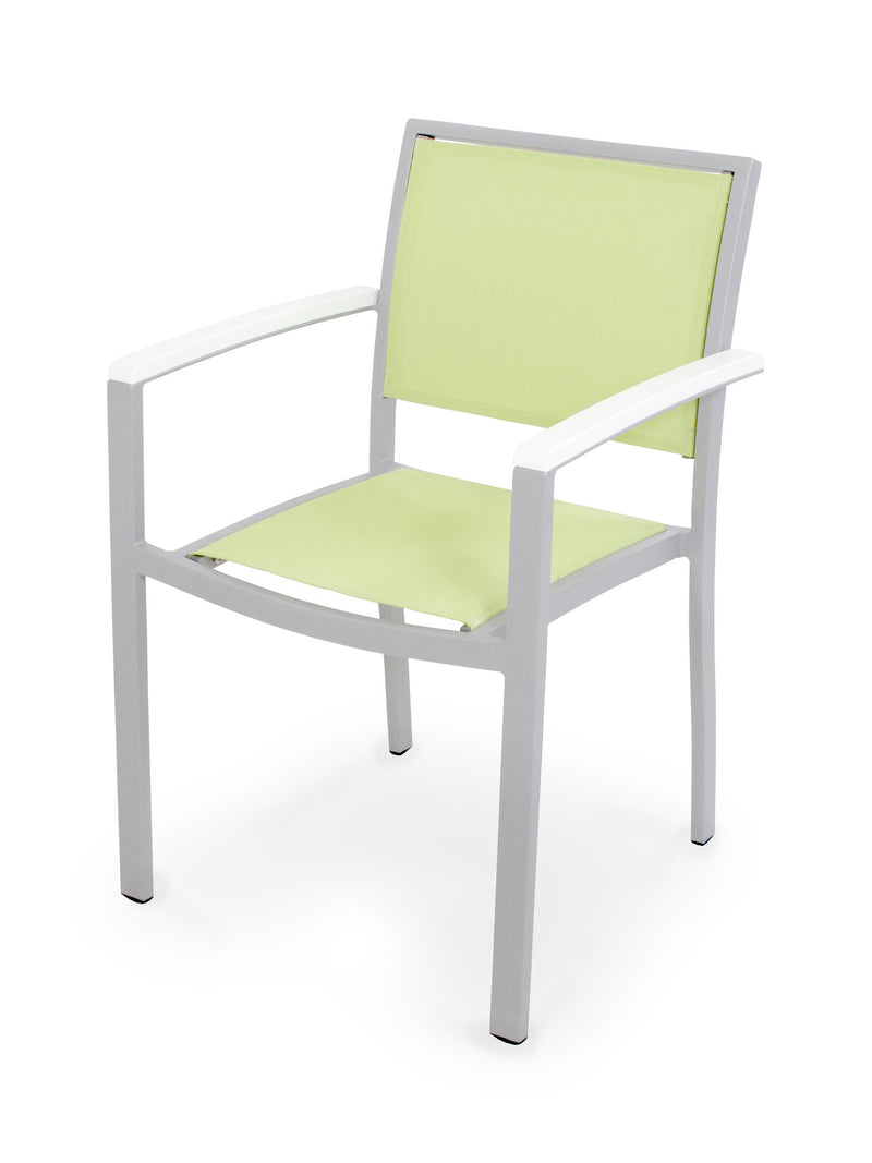 A290-11MWH904 Bayline Dining Arm Chair in Textured Silver and White with an Avocado Sling