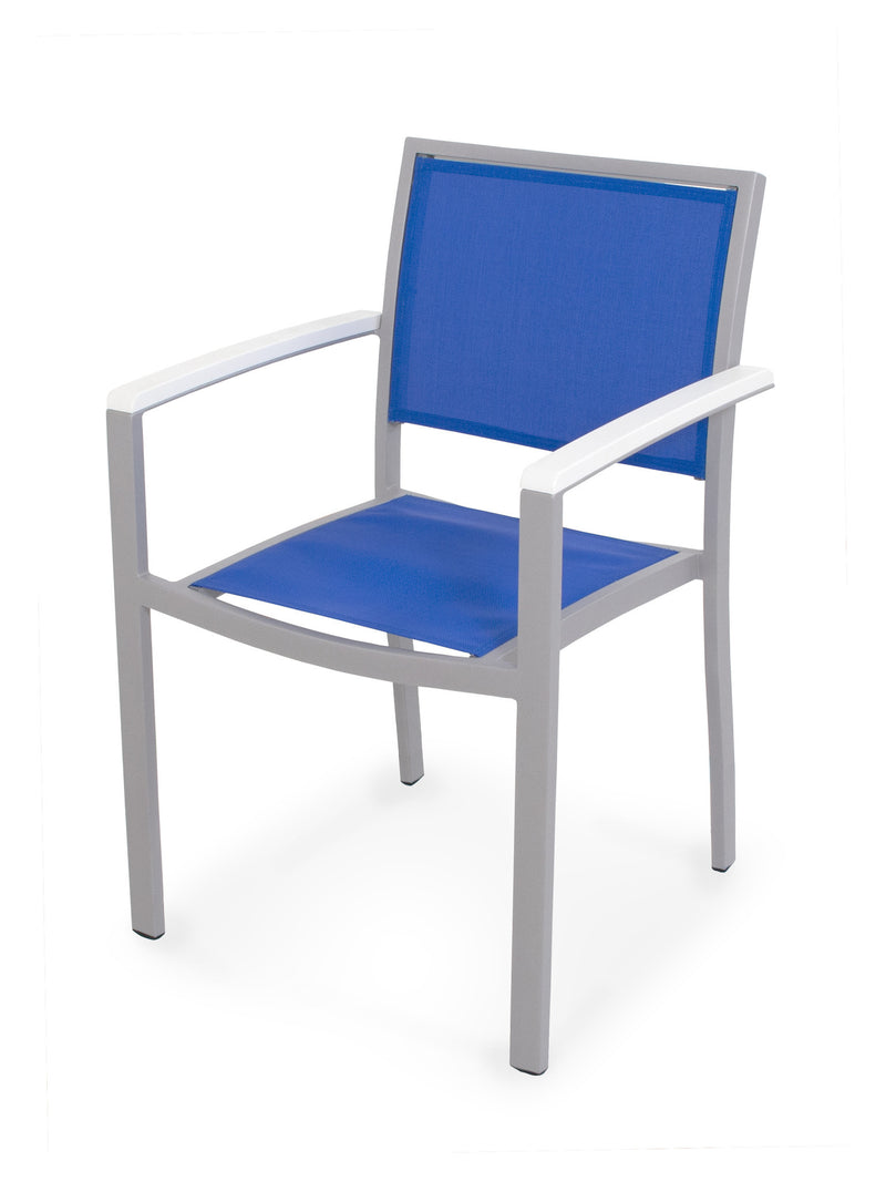 A290-11MWH905 Bayline Dining Arm Chair in Textured Silver and White with a Royal Blue Sling