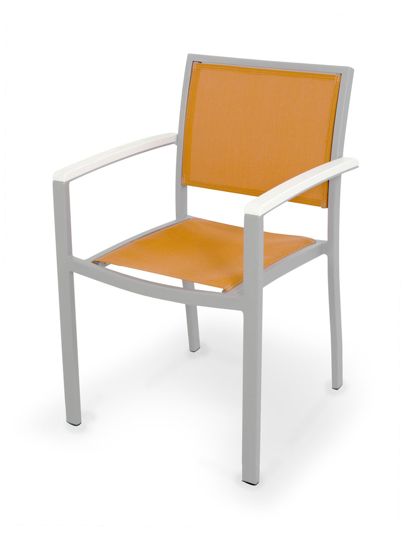 A290-11MWH906 Bayline Dining Arm Chair in Textured Silver and White with a Citrus Sling