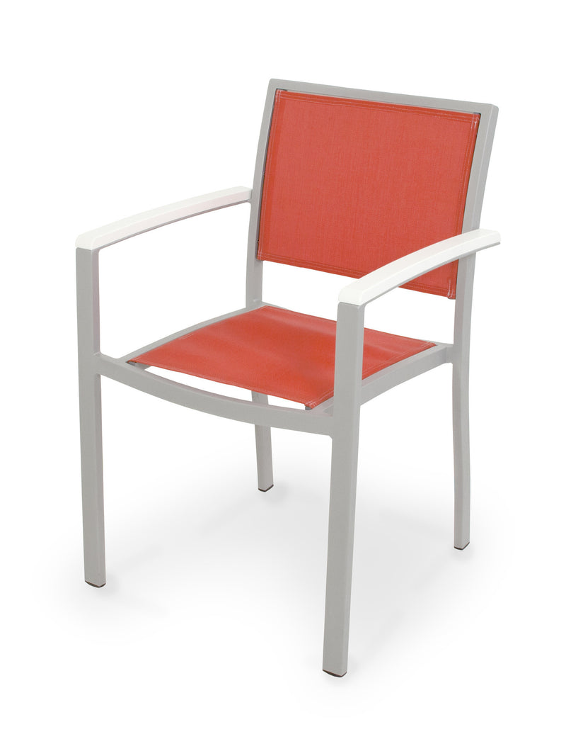 A290-11MWH907 Bayline Dining Arm Chair in Textured Silver and White with a Salsa Sling