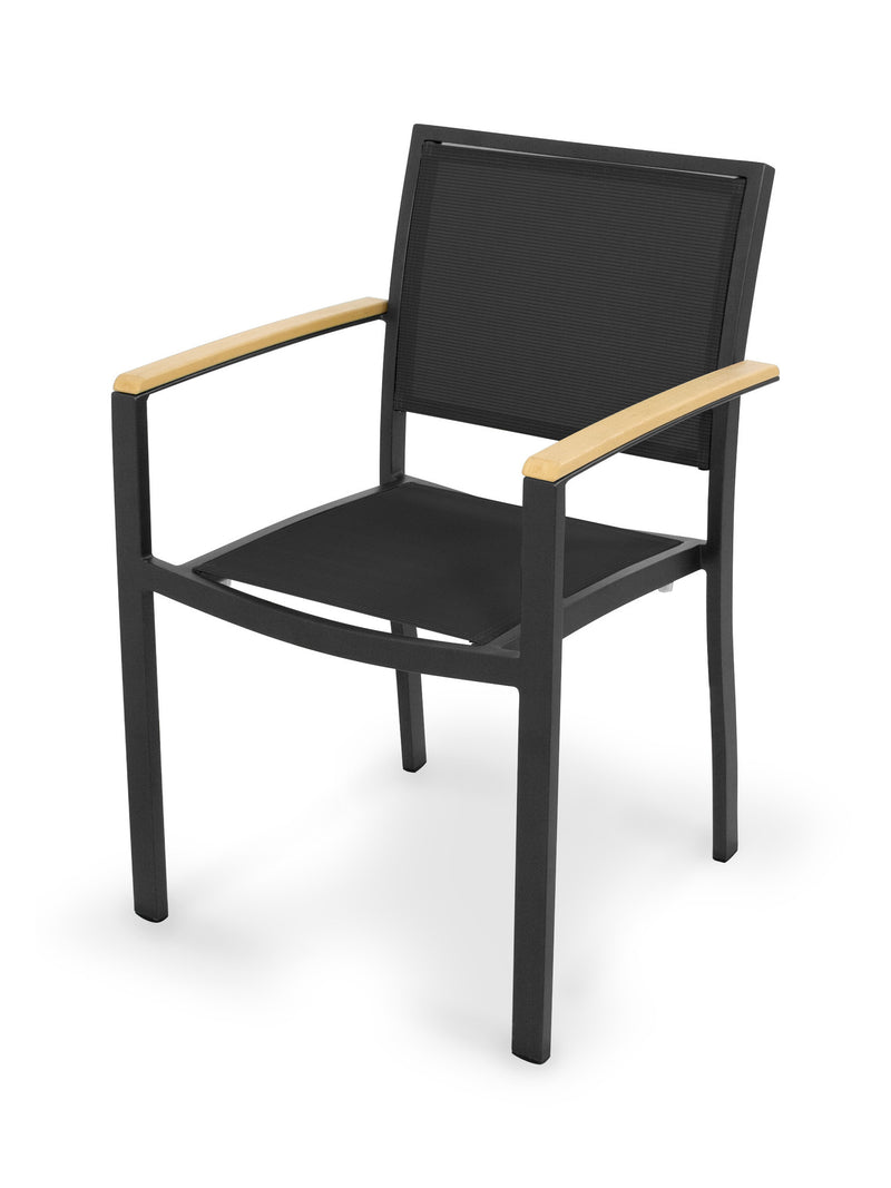 A290-12NT908 Bayline Dining Arm Chair in Textured Black and Plastique with a Black Sling
