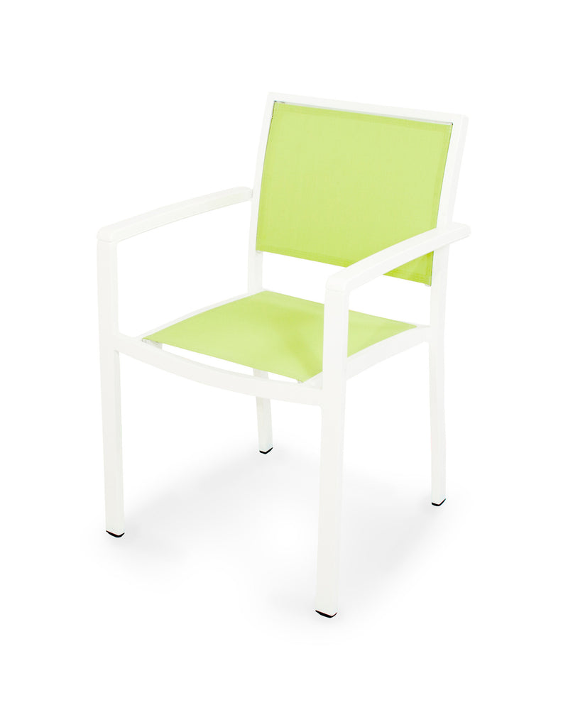 A290-13MWH904 Bayline Dining Arm Chair in Satin White and White with an Avocado Sling