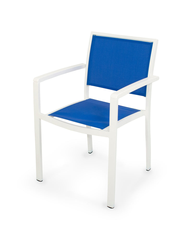 A290-13MWH905 Bayline Dining Arm Chair in Satin White and White with a Royal Blue Sling